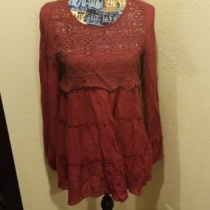 Burgundy lace tunic